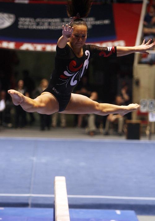 Kim Raff | The Salt Lake Tribune University of Utah gymnast Corrie Lothrop performs on the beam during the Pac 12 Gymnastics Championship at the Huntsman Center in Salt Lake City, Utah on March 24, 2012.