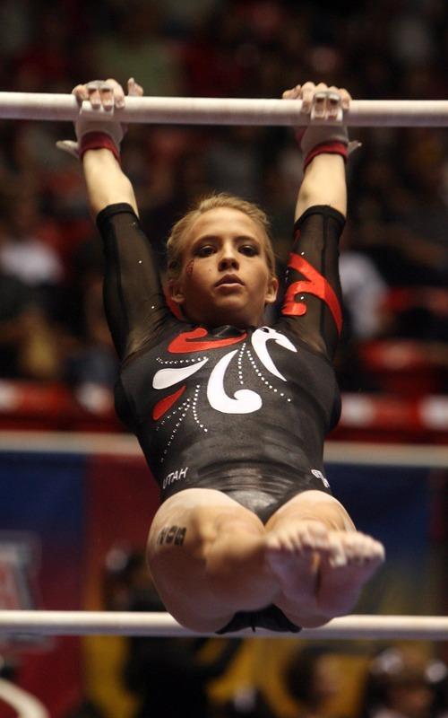 Kim Raff | The Salt Lake Tribune University of Utah gymnast Hailee Hansen competes on the uneven bars during the Pac 12 Gymnastics Championship at the Huntsman Center in Salt Lake City, Utah on March 24, 2012.
