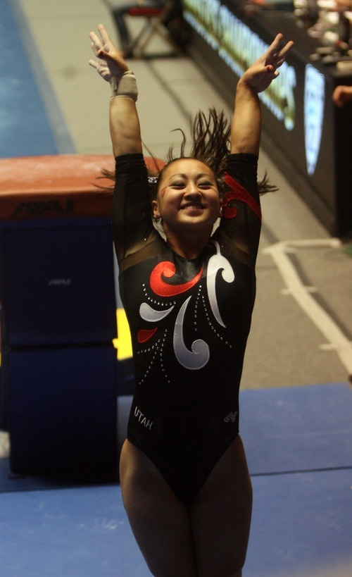 Kim Raff | The Salt Lake Tribune University of Utah gymnast Corrie Lothrop competes on the vault during the Pac 12 Gymnastics Championship at the Huntsman Center in Salt Lake City, Utah on March 24, 2012.