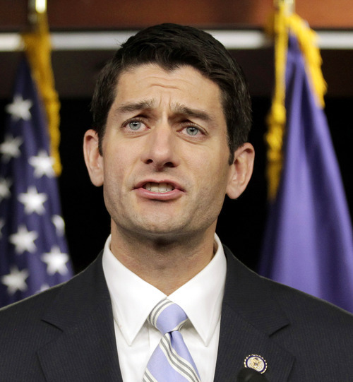FILE -- In this April 5, 2011 file photo, House Budget Committee Chairman Rep. Paul Ryan, R-Wis. speaks at a news conference at the Capitol in Washington. Republicans are ready to ram through the House an election-year, $3.5 trillion budget that showcases their deficit-cutting plan for revamping Medicare and slicing everything from food stamps to transportation while rejecting President Barack Obama's call to raise taxes on the rich.  (AP Photo/J. Scott Applewhite/File)