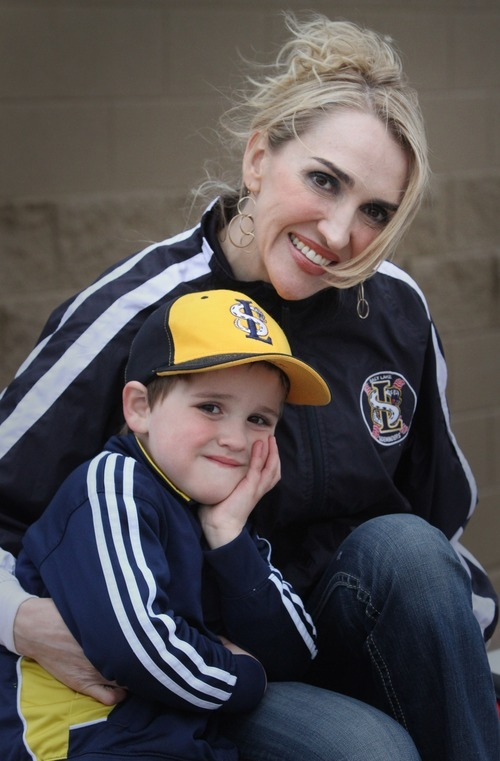 Rick Egan  | The Salt Lake Tribune   Jennafer Jeppson, (cq), with her 4-year-old son, Crew Jeppsen at the baseball park in South Jordan, Wednesday, March 28, 2012.