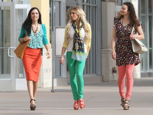 Rick Egan    The Salt Lake Tribune   Shay Williamson, left, Whitney Nunes, and Olga Chukhrai model clothes from the Bohme Boutique in The Gateway mall, Friday, March 23, 2012.