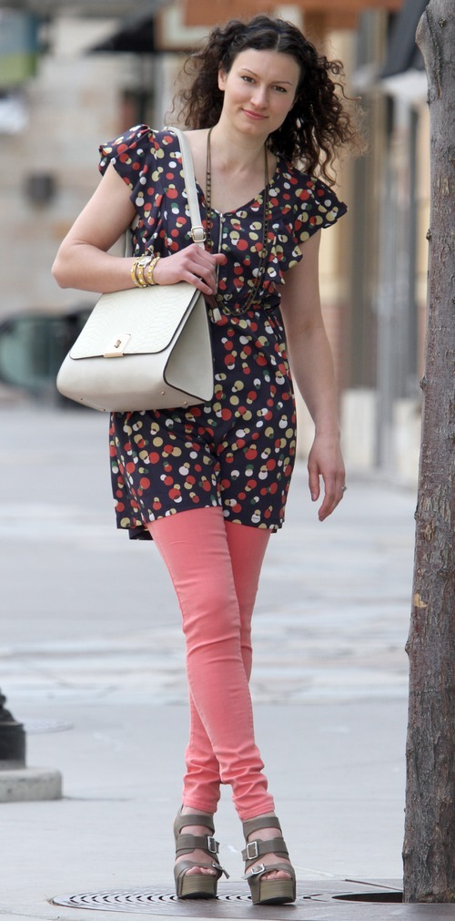 Rick Egan    The Salt Lake Tribune   Olga Chukhrai models clothes from the Bohme Boutique in The Gateway, Friday, March 23, 2012. She wears complementary colors, pairing coral contrasts with blue, including a I-ner polka dot dress, $38.50; Standerd coral jean, $48.50; Bohme beige bag, $48.50; Bohme wedge sandal, $38.50; Bohme necklace, $18.50; and Bohme watch, $34.50. All clothing from Bohme Boutique.