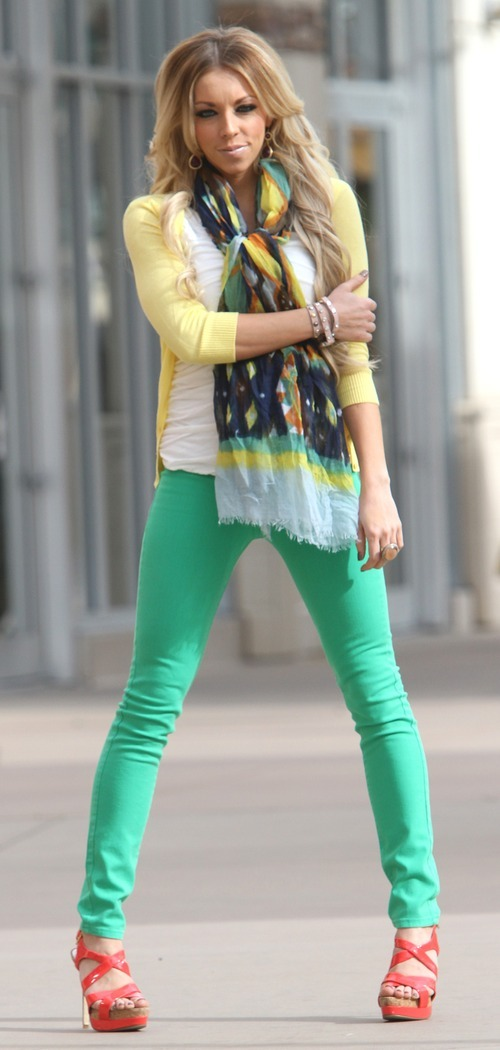 Rick Egan    The Salt Lake Tribune   Whitney Nunes models clothes from the Bohme Boutique in The Gateway, Friday, March 23, 2012. She wears yellow with green, the similar colors style of color blocking; a Sis Sis white ruched top, $32.50; Active Basic yellow cardigan, $26.50; Standerd green jean, $48.50; Bohme scarf, $26.50; and Bohme watch, $34.50. All clothing from Bohme Boutique.