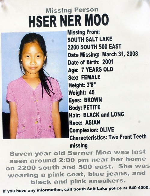 Photo from search flier for missing South Salt Lake girl Hser Ner Moo, age 7.   Al Hartmann/Salt Lake Tribune