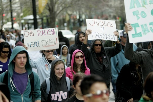 Kim Raff | The Salt Lake Tribune Hundreds of people participate in a Hoodie March in downtown Salt Lake City on Saturday, March 31, 2012, to show support for Trayvon Martin, an unarmed black youth shot dead in Florida on Feb. 26 by neighborhood watch volunteer George Zimmerman.