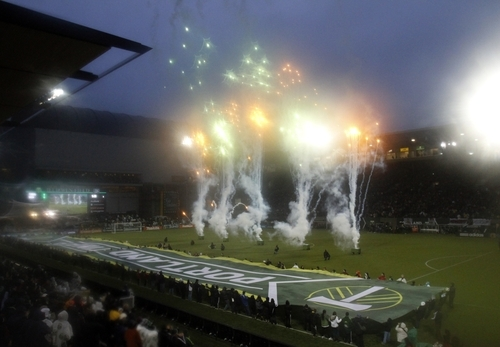 The Portland Timbers start their season opener against the Philadelphia Union with fireworks before their MLS soccer game in Portland, Ore., Monday, March 12, 2012.(AP Photo/Don Ryan)