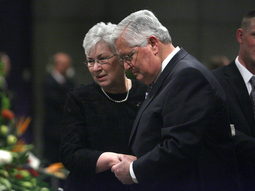 Church of Jesus Christ of Latter-day Saints Presiding Bishop H. David Burton offers condolences to Gail Miller during the viewing a day prior to the funeral of Salt Lake City businessman and former Jazz owner Larry H. Miller at the EnergySolutions Arena Friday, Feb. 27, 2009, in Salt Lake City, Utah.  Laura Seitz, Deseret News