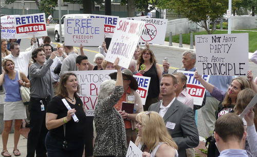 Matt Canham  |  Tribune file photo Utahns joined with other tea party activists in Washington, D.C., last summier in a protest against the National Republican Senatorial Committee's support of six-term Sen. Orrin Hatch.