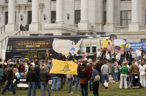 Trent Nelson  |  Tribune file photo The Tea Party Express made a stop at the Utah State Capitol last year, waving the Gadsden flag that has become associated with the conservative movement.