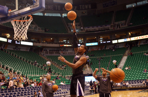 Kim Raff | The Salt Lake Tribune Kings player Jason Thompson warms up on the court before playing the Jazz at EnergySolutions Arena in Salt Lake City, Utah on March 30, 2012.