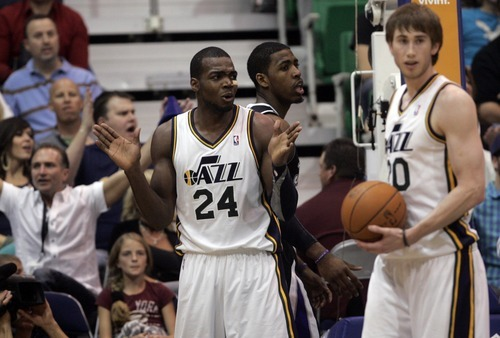 Kim Raff | The Salt Lake Tribune Jazz player Paul Millsap argues a foul called on him during a game against the Kings at EnergySolutions Arena in Salt Lake City, Utah on March 30, 2012. The Jazz went on to lose the game 103-104.