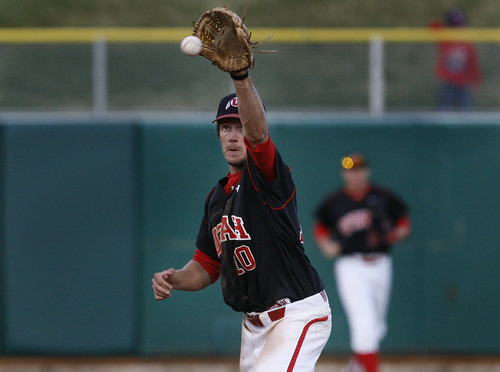 Scott Sommerdorf  |  The Salt Lake Tribune              Utah ss James Brooks prepares to throw out UCLA's Eric Filia-Snyder during fifth inning action. The Utes were down 7-0 at this ppint. UCLA plays Utah in the Utes' Pac-12 baseball opener at Spring Mobile Ballpark, Friday, March 30, 2012.