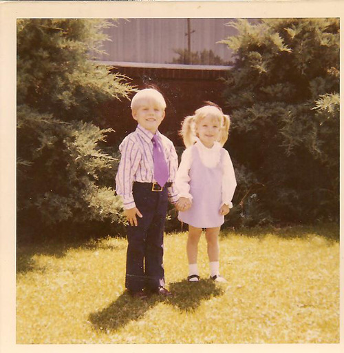 A young Emily Pearson gets ready for LDS Primary with her cousin. Pearson's book