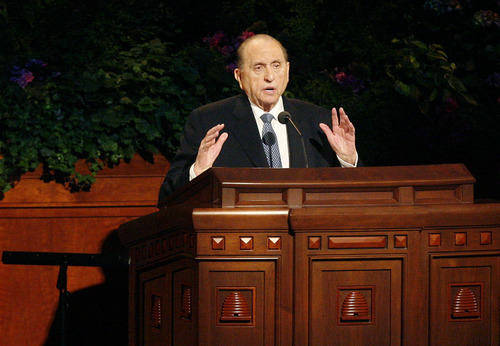 Scott Sommerdorf  |  The Salt Lake Tribune              President Thomas S. Monson speaks at the 182nd Annual General Conference of the LDS Church on Saturday.