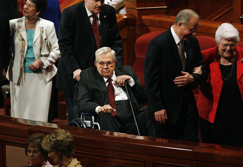 Scott Sommerdorf  |  The Salt Lake Tribune              Boyd K. Packer is taken in a wheelchair after the conclusion of Saturday afternoon's session of the 182nd Annual General Conference of The Church of Jesus Christ of Latter-day Saints.