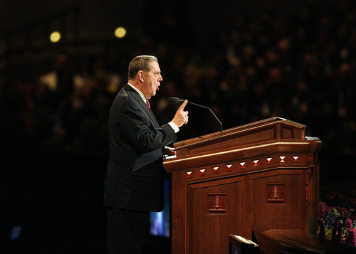 Scott Sommerdorf  |  The Salt Lake Tribune              Elder Jeffrey R. Holland, of the Quorum of the Twelve Apostles, speaks at the 182nd Annual General Conference of The Church of Jesus Christ of Latter-day Saints on Saturday.