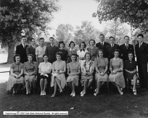 Photo courtesy Utah State Historical Society  This shows members of an LDS Sunday School class at 2952 S 700 E on June 1, 1940.