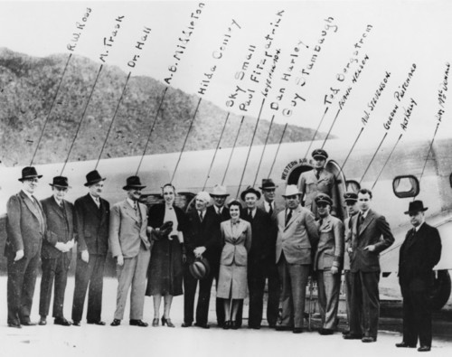 Photo courtesy Utah State Historical Society  This photo shows a group of people with a Western Air Express plane.