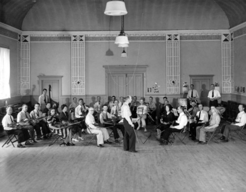 Photo courtesy Utah State Historical Society  Works Projects Administration Orchestra in 1940 with Reginald Beales as conductor.