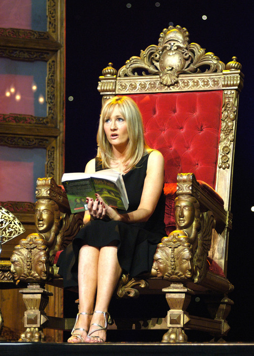 This  Aug. 1, 2006 file photo shows best-selling author J.K. Rowling reading from Harry Potter and the Half-Blood Prince during