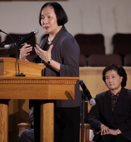 Oakland Mayor Jean Quan speaks during a memorial service at the Allen Temple Baptist Church Tuesday, April 3, 2012, in Oakland, Calif. Several hundred people gathered Tuesday night for a prayer vigil for the victims of Monday's shooting at Oikos University, a small Christian school in Oakland. (AP Photo/Ben Margot)