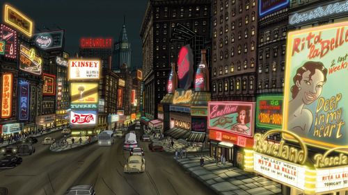 |  GKIDS Rita's name goes up in lights in New York, in a scene from the for-adults-only animated romance