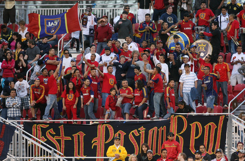 Steve Griffin/The Salt Lake Tribune   RSL fans cheer on their team during the RSL versus Montreal soccer game at Rio Tinto Stadium in Sandy Wednesday April 4, 2012.