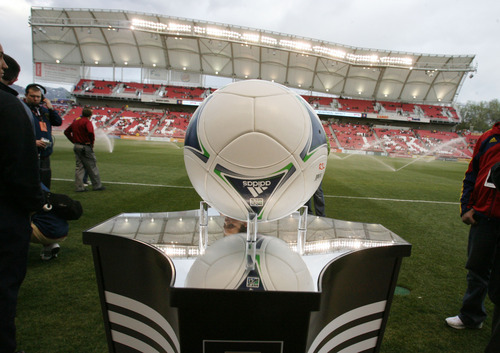 Steve Griffin/The Salt Lake Tribune   The game ball sits on a stand prior to the start of the RSL versus Montreal soccer game at Rio Tinto Stadium in Sandy Wednesday April 4, 2012.