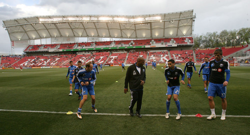 Steve Griffin/The Salt Lake Tribune   Montreal players warm-up prior to the start of the RSL versus Montreal soccer game at Rio Tinto Stadium in Sandy Wednesday April 4, 2012.