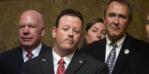 Al Hartmann  |  Tribune file photo State Sen. Howard Stephenson, left, Rep. Carl Wimmer, and Utah Attorney General Mark Shurtleff join members of the Utah Taxpayers Association and Utah business owners hold a news conference at the Capitol in  October 2010. Despite serious disagreements over immigration laws, Shurtleff this week endorsed Wimmer in the 4th Congressional District race.