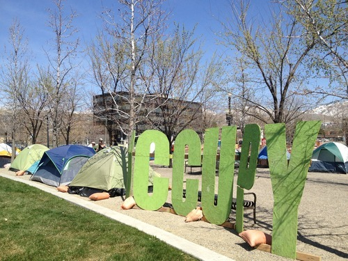 Chris Detrick | The Salt Lake Tribune Occupy SLC activists on Saturday moved from Salt Lake City's Gallivan Center to Library Square, a grass-and-gravel area east of the Salt Lake City Library at 210 E. 400 South.