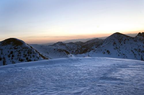 Kim Raff  |  The Salt Lake Tribune The sun rises before an Easter sunrise service on Hidden Peak at Snowbird Ski Resort on Sunday, April 8, 2012.