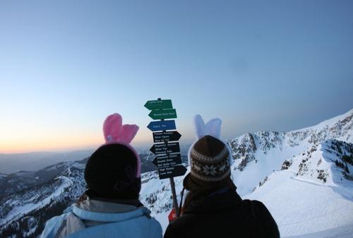 Kim Raff  |  The Salt Lake Tribune Lori Groen and Courtney Ruff watch the sunrise before the Easter sunrise service on top of Hidden Peak at Snowbird Ski Resort on Sunday, April 8, 2012.