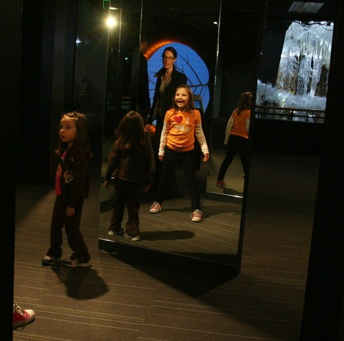 Steve Griffin  |  The Salt Lake Tribune   The new Leonardo museum, fashioned out of the old Salt Lake City Library, opened to the public on Saturday  Oct. 8, 2011 in Salt Lake City. Here, visitors use interactive exhibits.
