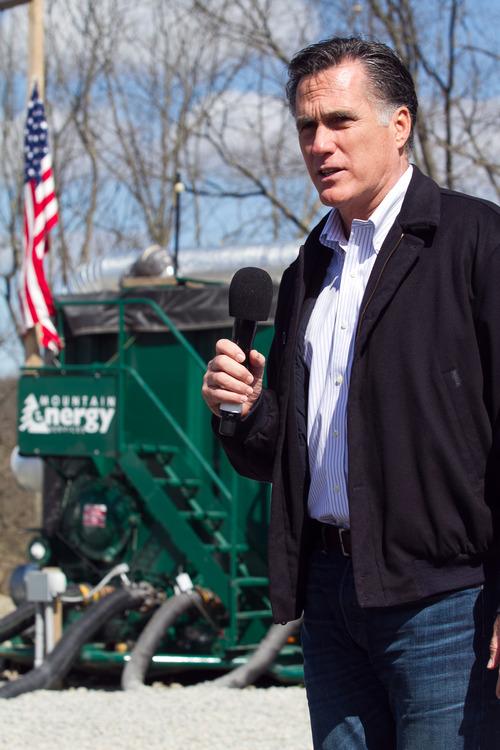 Republican presidential candidate, former Massachusetts Gov. Mitt Romney speaks about energy during a campaign stop in Tunkhannock, Pa.., Thursday, April 5, 2012. (AP Photo/The Scranton Times-Tribune, Jake Danna Stevens)