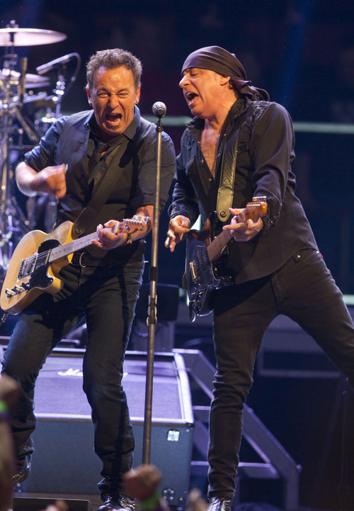 Bruce Springsteen, left, of performs with Steve Van Zandt during their Wrecking Ball tour at the Izod Center on Tuesday, April, 3, 2012, in East Rutherford, N.J. Research from the University of Utah shows that music, such as singing the final verse of Bruce Springsteen's