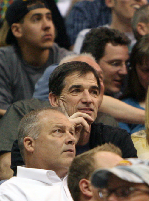 Steve Griffin/The Salt Lake Tribune   Hall of Fame, and former Jazz guard John Stockton smiles as he watches the second half of the Jazz versus Spurs game at EnergySolutions Arena in Salt Lake City Monday April 9, 2012.