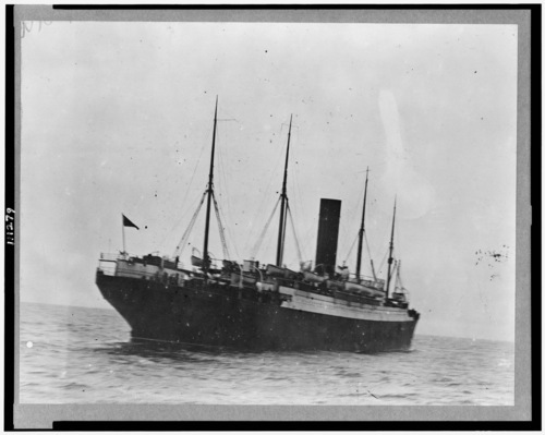 Library of Congress photo  The Carpathia is seen as it sails to port with Titanic survivors onboard. The lifeboats seen hanging from the ship's side are from the Titanic.