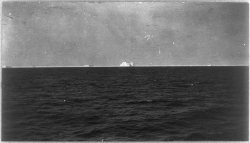 Library of Congress photo  This photo of the iceberg that sunk the Titanic was shot from the deck of the Carpathia as survivors were rescued from the sea.