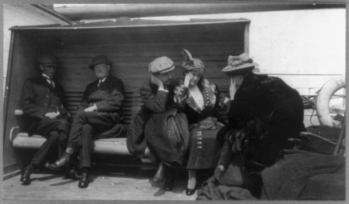 Library of Congress photo  Titanic survivors onboard the Carpathia.