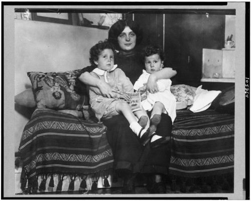 Library of Congress photo  Louis and Michel Navratil, of Nice, France, sit on their mother's lap. The boys were Titanic survivors.