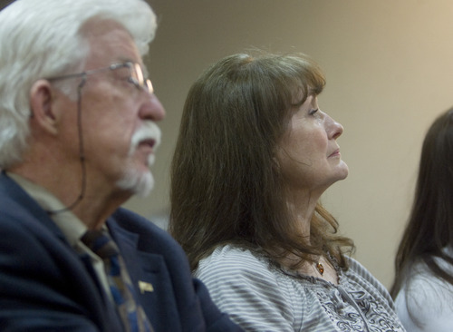 Kim Raff  |  The Salt Lake Tribune Michael Stewart and Sonja Stewart, Matthew David Stewart's father and mother, attend a meeting the family held at the Weber County Library on Thursday to discuss problems with the Jan. 4 raid in Ogden.