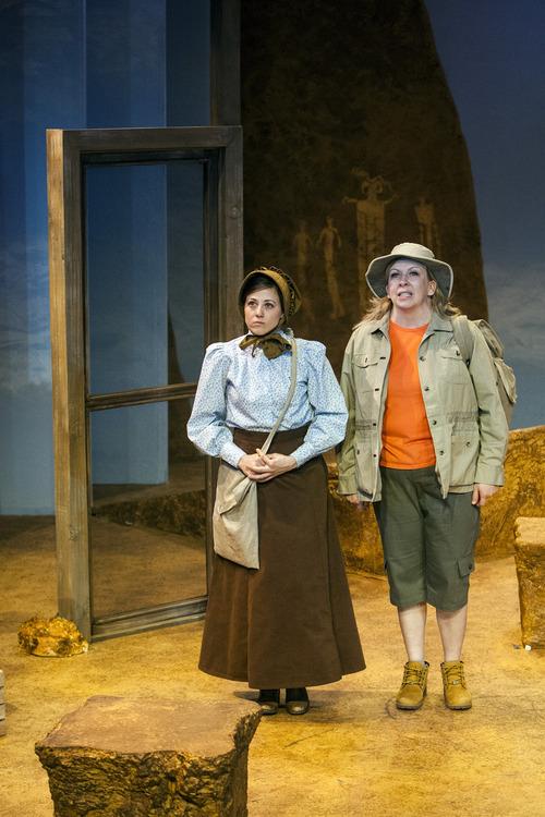 Chris Detrick  |  The Salt Lake Tribune Elise Groves 'Dell Nelson' and Colleen Baum 'Stevie Stuart' act out a scene of