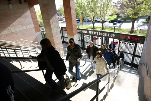 Kim Raff   The Salt Lake Tribune People make their way into the ball park as the gates are opened for the fan during the Bees homeopener against Tucson Padres at Spring Mobile Ballpark in Salt Lake City, Utah on April 13, 2012.