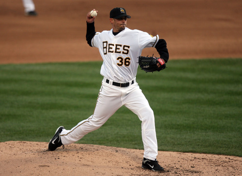 Kim Raff   The Salt Lake Tribune Bees pitcher David Pauley pitches the ball during the Bees homeopener against Tucson Padres at Spring Mobile Ballpark in Salt Lake City, Utah on April 13, 2012.