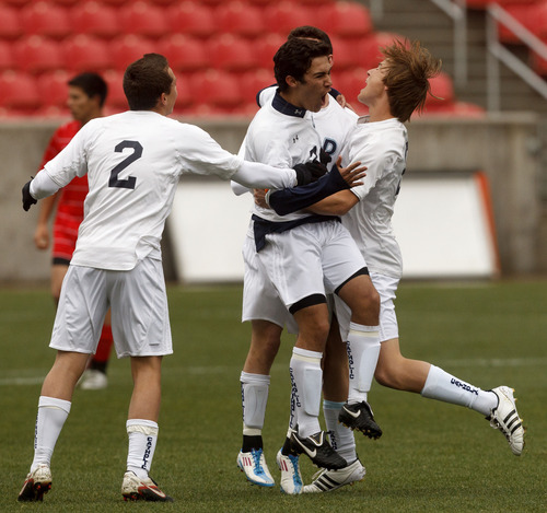 Trent Nelson  |  The Salt Lake Tribune Juan Diego's Emmanuel Hurtado, center, and teammates celebrate his first half goal. Alta vs. Juan Diego, competing in the Real Cup High School Soccer Tournament at Rio Tinto Stadium Saturday, April 14, 2012 in Salt Lake City, Utah.