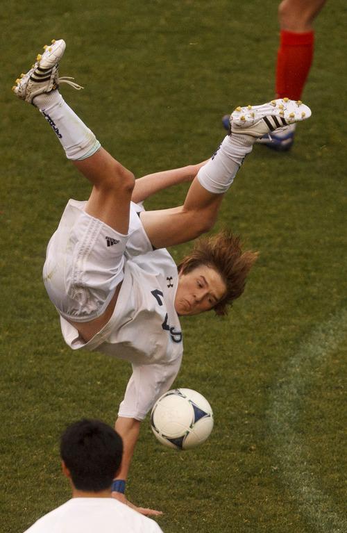 Trent Nelson  |  The Salt Lake Tribune Juan Diego's Michael Kelliher flips. Alta vs. Juan Diego, competing in the Real Cup High School Soccer Tournament at Rio Tinto Stadium Saturday, April 14, 2012 in Salt Lake City, Utah.