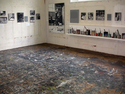 In this April 29, 2010 photo provided by the Pollock-Krasner House and Study Center, the interior of Jackson Pollock's studio is shown in East Hampton, N.Y.  Pollock, who would have turned 100 in 2012, will have the anniversary of his birth observed with exhibitions, fundraisers and other events throughout the year.  (AP Photo/Pollock-Krasner House and Study Center, Helen Harrison)
