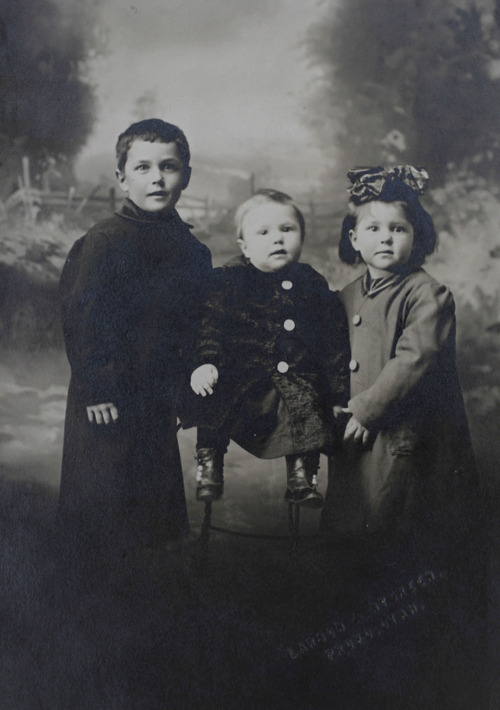 Al Hartmann  |  The Salt Lake Tribune Family photo of Irene Corbett's three children, Walter, 5, Mack, 13 months, and Roene, 3, taken before her death on the Titanic.  Irene Corbett, who was returning from midwife-nursing training in England, was the only Utahn who died on the Titanic.     Photo courtesy of Don Corbett
